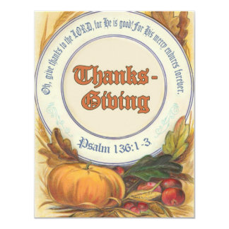 "Christian Bible Verse Thanksgiving 4.25"" X 5.5"" Invitation Card"