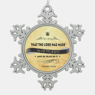 Christian, Bible Verses, This is the Day Pewter Snowflake Decoration