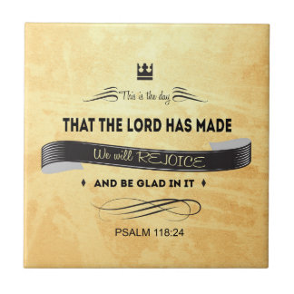 Christian, Bible Verses, This is the Day Small Square Tile