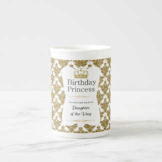 Christian Birthday Princess Gold and White Damask Tea Cup
