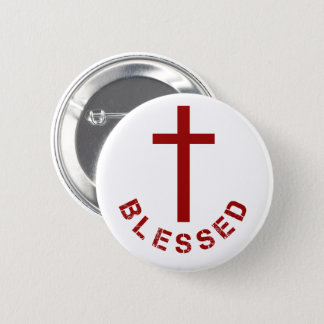 Christian Blessed Red Cross Typography 6 Cm Round Badge