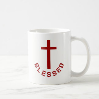Christian Blessed Red Cross Typography Coffee Mug