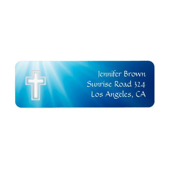 Christian   Blue Rays Return Address Label