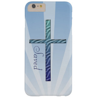 Christian-Blue Rippled Cross-Customize Barely There iPhone 6 Plus Case