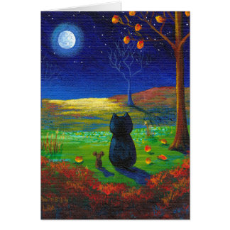 Christian Cat Moon Fall Leaves Creationarts Card