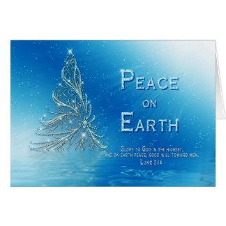 CHRISTIAN CHRISTMAS GREETING - BLUE - TREE - VERSE CARD