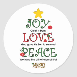 Christian Christmas Joy Love and Peace Round Sticker