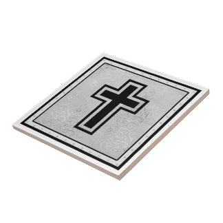 Christian Cross 2 Small Square Tile