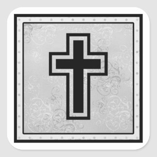 Christian Cross 2 Square Sticker