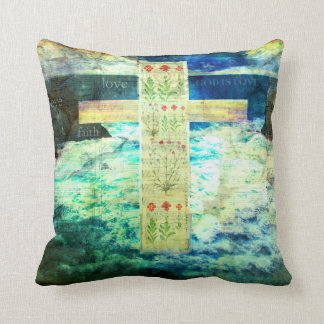 Christian cross and flowers blue sea waves sky pillows