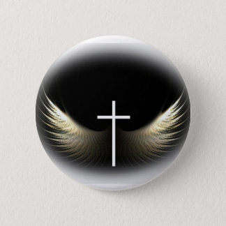 Christian Cross and Holy Spirit 6 Cm Round Badge