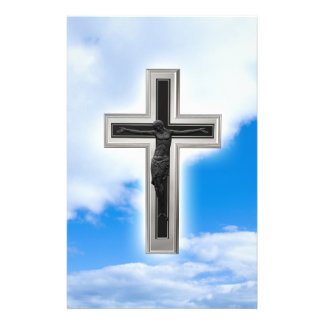 Christian cross at blue sky background 14 cm x 21.5 cm flyer