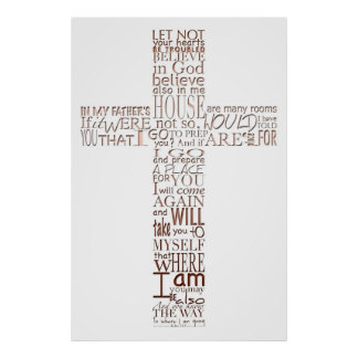 Christian Cross Bible Verses Copper Letters Poster