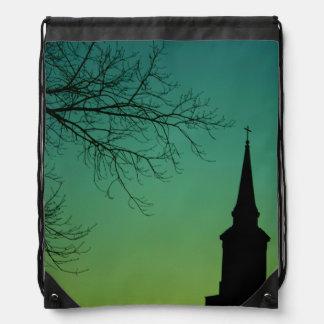 Christian Cross Church Steeple at Twilight Drawstring Bag
