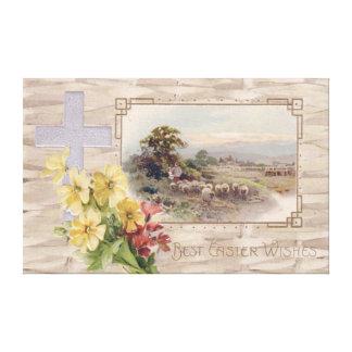 Christian Cross Daisy Sheep Shepherd Stretched Canvas Prints