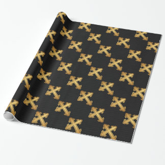 Christian Cross Fleury Gold on Black Wrapping Paper