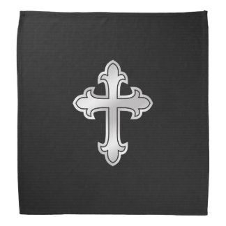 Christian Cross Fleury Silver on Black Head Kerchiefs