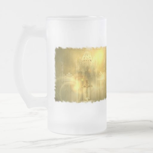 Christian Cross Frosted Beer Mug
