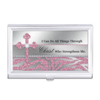 Christian Cross I can do all things through Christ Business Card Holder