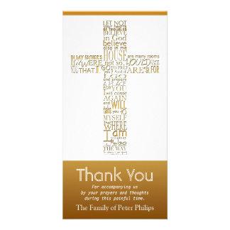 Christian Cross John 14:02 - Sympathy Thank You 2 Photo Card Template