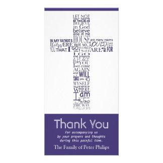 Christian Cross John 14:02 - Sympathy Thank You 4 Customised Photo Card