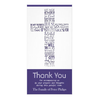 Christian Cross John 14 Sympathy Thank You 4 Customised Photo Card