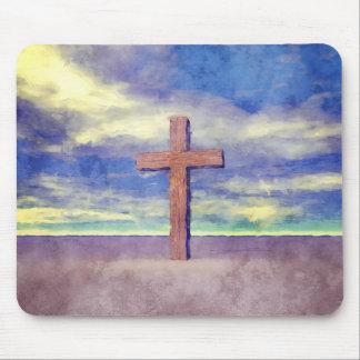 Christian Cross Landscape Mousepads