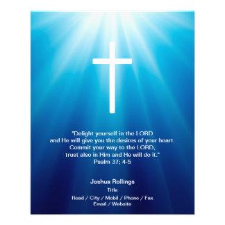 Christian Cross on blue background 11.5 Cm X 14 Cm Flyer