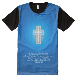 Christian Cross on blue background All-Over Print T-Shirt