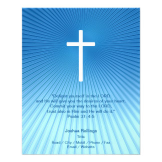 Christian Cross on blue background Flyer Design