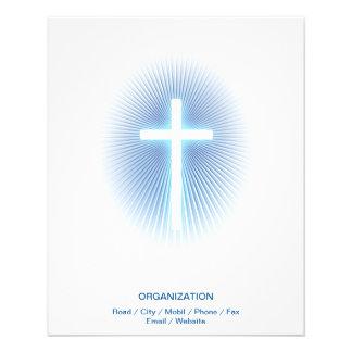 Christian Cross on blue eliptical background 11.5 Cm X 14 Cm Flyer