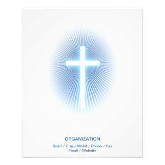 Christian Cross on blue eliptical background Flyer Design