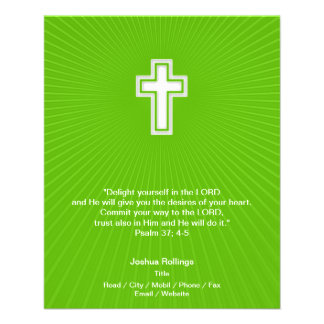Christian Cross on green background 11.5 Cm X 14 Cm Flyer