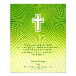 Christian Cross on green background 11.5 Cm X 14 Cm Flyer