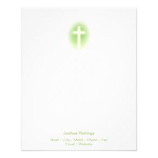 Christian Cross on green eliptical background 11.5 Cm X 14 Cm Flyer