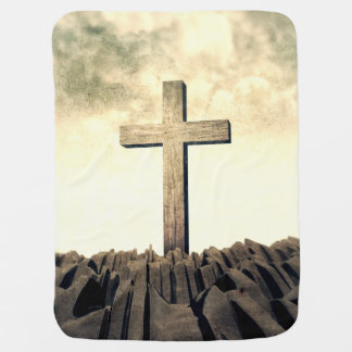 Christian Cross On Mountain Baby Blanket