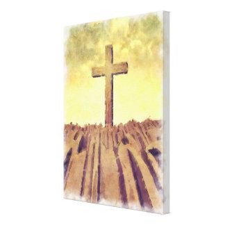 Christian Cross On Mountain Canvas Print
