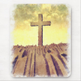 Christian Cross On Mountain Mouse Pad