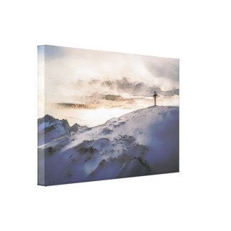 Christian Cross On Mountain Stretched Canvas Print