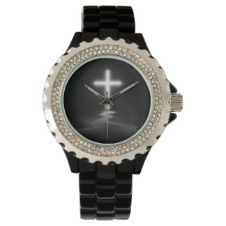 Christian Cross Reflection in the Mist Wristwatch