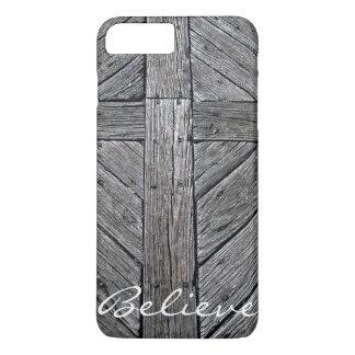 Christian cross rustic wood monogram iPhone 8 plus/7 plus case