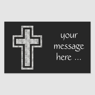 Christian Cross Symbol Pretty Grey Flowers Rectangular Sticker