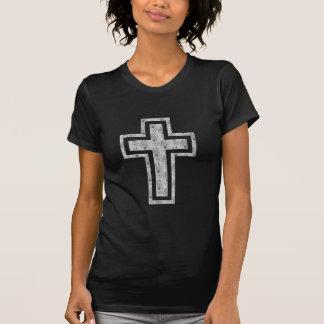 Christian Cross Symbol Pretty Grey Flowers Tshirt