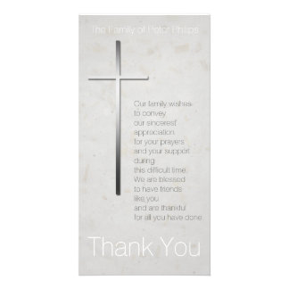 Christian Cross Sympathy Thank You matching Stamp Customised Photo Card