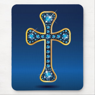 "Christian Cross with ""Aquamarine"" Stones Mouse Pad"