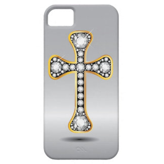 "Christian Cross with ""Diamond"" Stones iPhone 5 Covers"