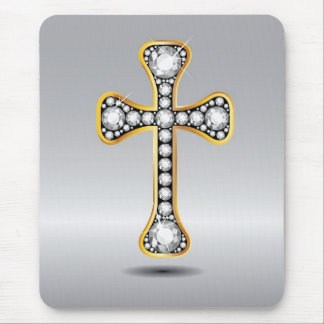 """Christian Cross with """"Diamond"""" Stones Mouse Pads"""