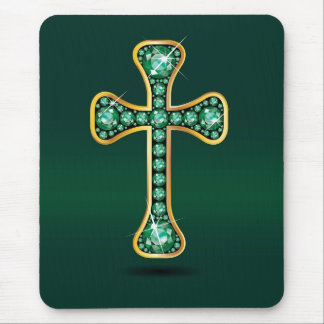 "Christian Cross with ""Emerald"" Stones Mouse Pad"