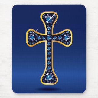 """Christian Cross with Faux-""""Sapphire"""" Stones Mouse Pad"""