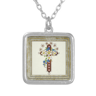 Christian Cross With Flowers Silver Plated Necklace